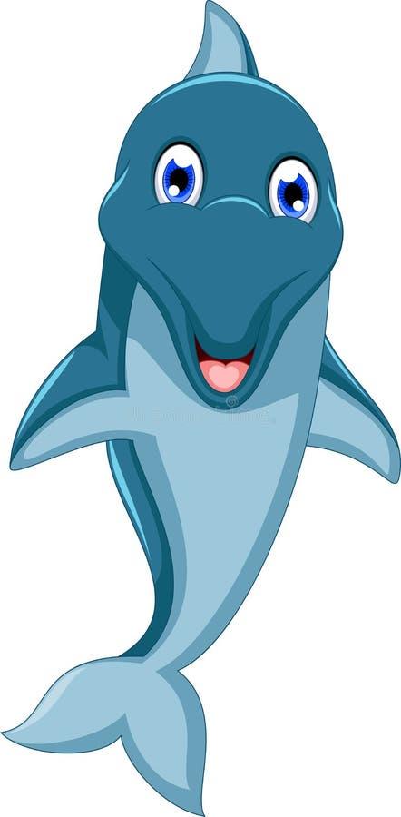 Χαριτωμένο άλμα κινούμενων σχεδίων δελφινιών ελεύθερη απεικόνιση δικαιώματος
