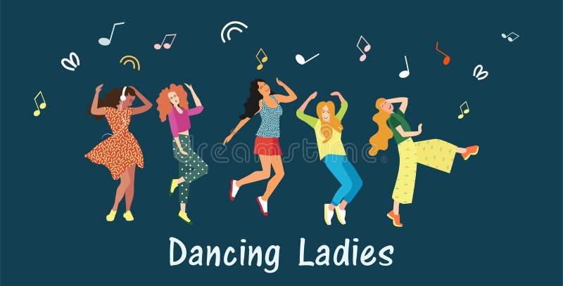 Χαριτωμένο έμβλημα που χορεύει για τα κορίτσια Οι γυναίκες χορεύουν και κινούνται προς τη μουσική στη λέσχη σε ένα κόμμα ή ένα φε απεικόνιση αποθεμάτων