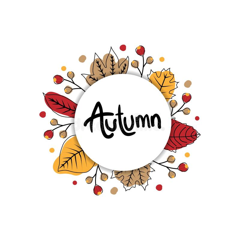 Χαριτωμένο έμβλημα φθινοπώρου με τον κύκλο και χέρι που σύρει τα ξηρά φύλλα απεικόνιση αποθεμάτων