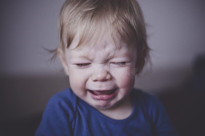 Χαριτωμένο ένα μικρό παιδί φωνάζει πικρά κλείστε επάνω στοκ εικόνες με δικαίωμα ελεύθερης χρήσης