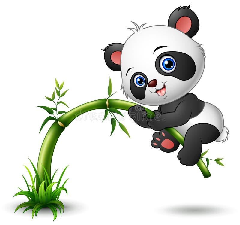 Χαριτωμένο δέντρο panda μωρών που αναρριχείται στο μπαμπού ελεύθερη απεικόνιση δικαιώματος