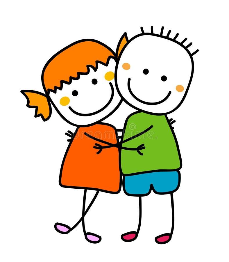 Χαριτωμένο αγκάλιασμα κοριτσιών και αγοριών ελεύθερη απεικόνιση δικαιώματος