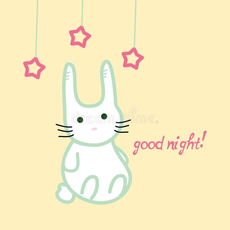 Χαριτωμένο λαγουδάκι, κάρτα καληνύχτας ελεύθερη απεικόνιση δικαιώματος