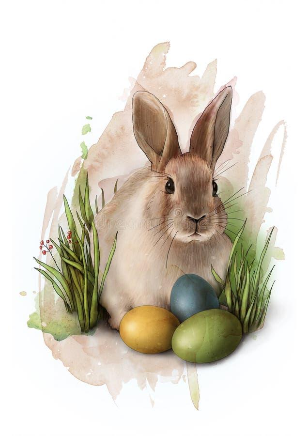 Χαριτωμένο λαγουδάκι Πάσχας στη χλόη με τρία ζωηρόχρωμα χρωματισμένα αυγά, σκίτσο ελεύθερη απεικόνιση δικαιώματος