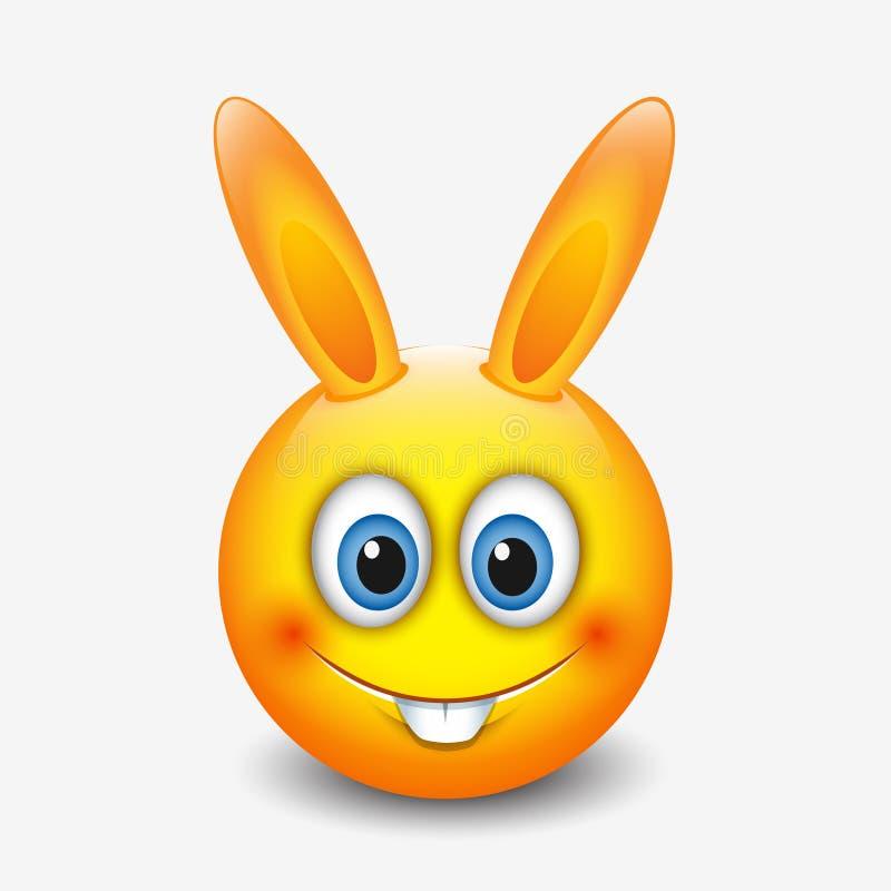 Χαριτωμένο λαγουδάκι Πάσχας emoticon, emoji - διανυσματική απεικόνιση ελεύθερη απεικόνιση δικαιώματος