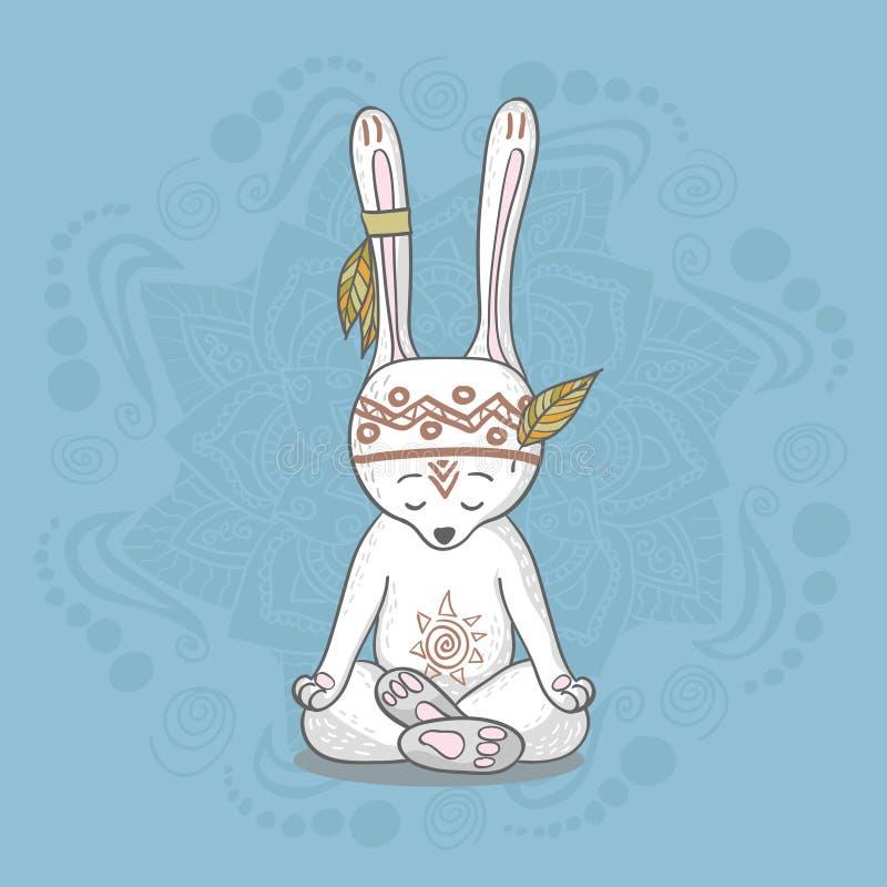Χαριτωμένο λαγουδάκι meditates διανυσματική απεικόνιση