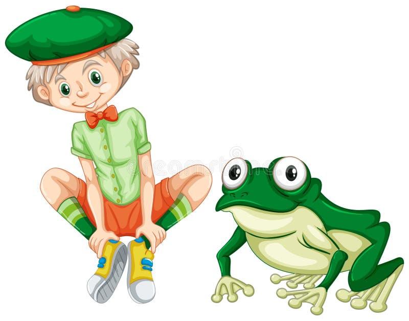 Χαριτωμένο αγόρι και πράσινος βάτραχος ελεύθερη απεικόνιση δικαιώματος