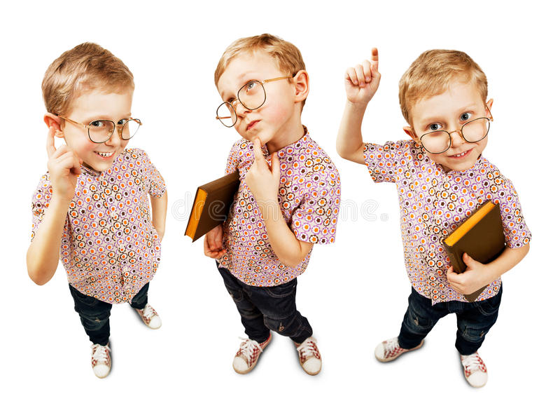 Χαριτωμένο αγόρι μαθητών τριών εικόνων στοκ φωτογραφία με δικαίωμα ελεύθερης χρήσης