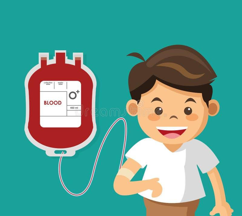 χαριτωμένο αγόρι με το αίμα τσαντών απεικόνιση αποθεμάτων