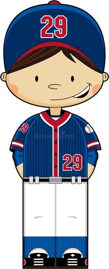 Χαριτωμένο αγόρι μπέιζ-μπώλ διανυσματική απεικόνιση