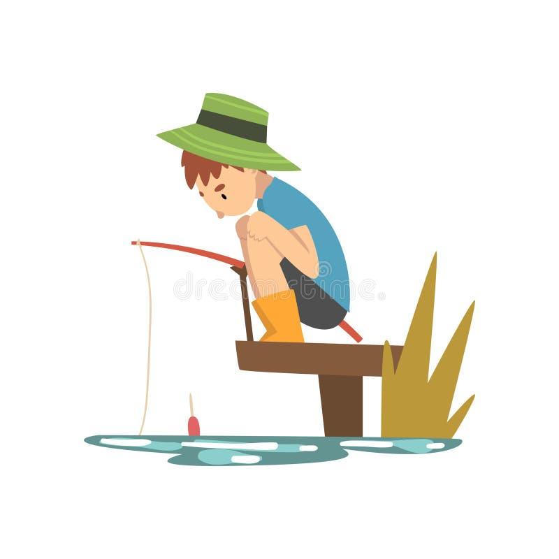 Χαριτωμένο αγόρι που αλιεύει από την αποβάθρα στην ακτή θάλασσας ή ποταμών, χαρακτήρας κινουμένων σχεδίων ψαράδων με τη διανυσματ ελεύθερη απεικόνιση δικαιώματος