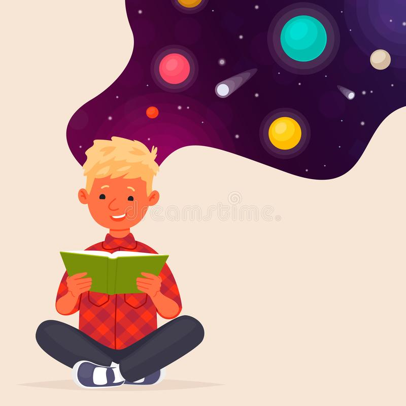 Χαριτωμένο αγόρι που διαβάζει ένα βιβλίο για το διάστημα και τους πλανήτες Εκπαίδευση r διανυσματική απεικόνιση