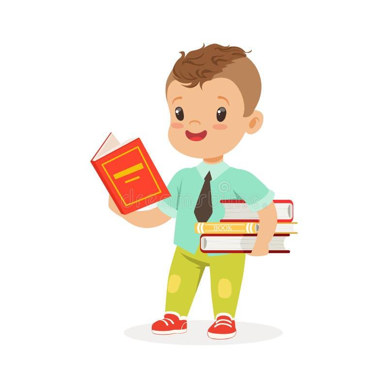 Χαριτωμένο αγόρι που διαβάζει ένα βιβλίο στεμένος και κρατώντας τα βιβλία, παιδί που απολαμβάνουν την ανάγνωση, ζωηρόχρωμη διανυσ διανυσματική απεικόνιση