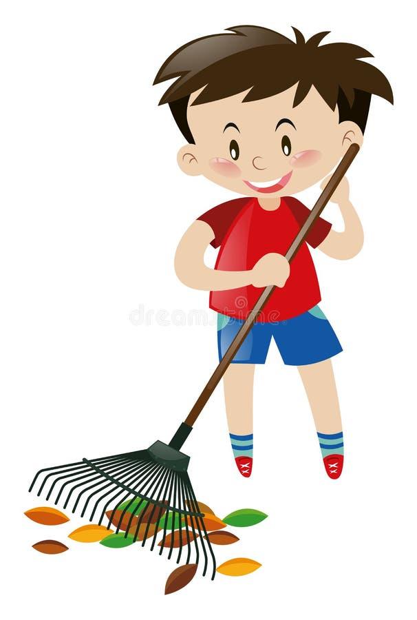 Χαριτωμένο αγόρι που μαζεύει με τη τσουγκράνα τα ξηρά φύλλα ελεύθερη απεικόνιση δικαιώματος