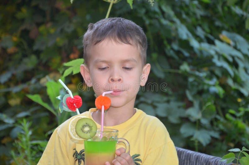 Χαριτωμένο αγόρι που πίνει τον υγιή καταφερτζή χυμού φρούτων κοκτέιλ το καλοκαίρι Ευτυχές παιδί που απολαμβάνει το οργανικό ποτό στοκ εικόνα