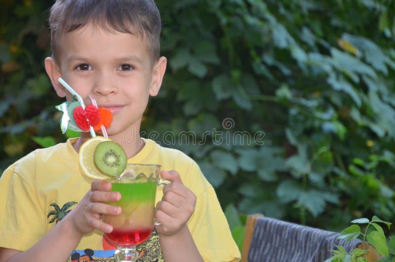 Χαριτωμένο αγόρι που πίνει τον υγιή καταφερτζή χυμού φρούτων κοκτέιλ το καλοκαίρι Ευτυχές παιδί που απολαμβάνει το οργανικό ποτό στοκ φωτογραφία