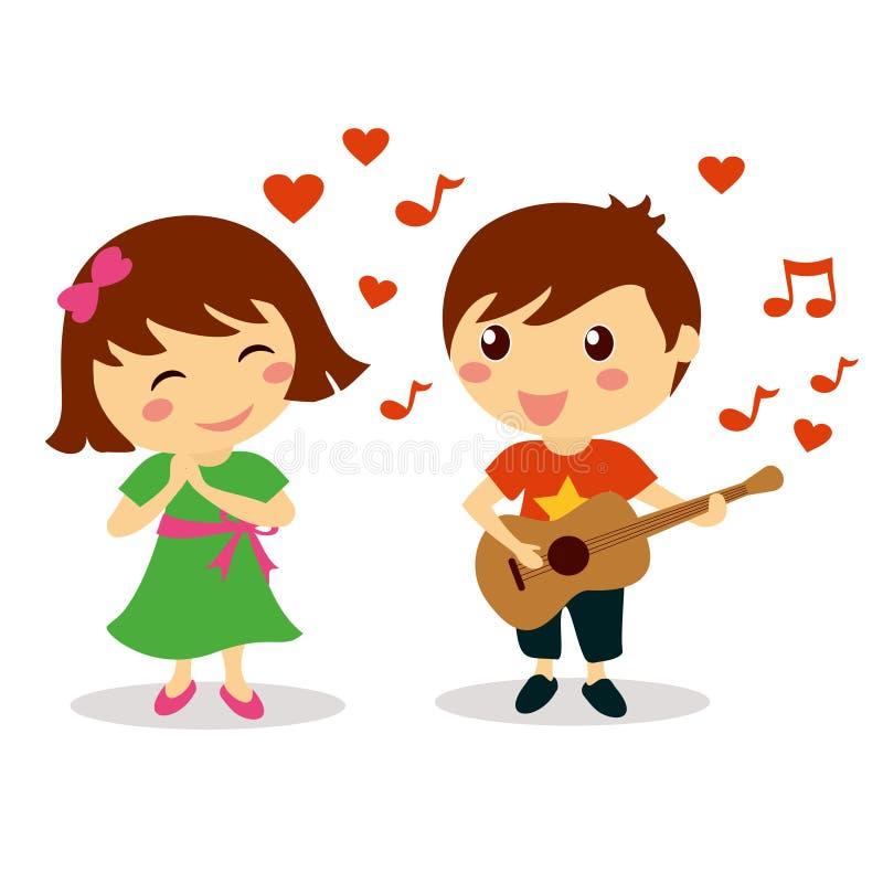 Χαριτωμένο αγόρι που τραγουδά ένα ερωτικό τραγούδι στο όμορφο χαμογελώντας κορίτσι απεικόνιση αποθεμάτων
