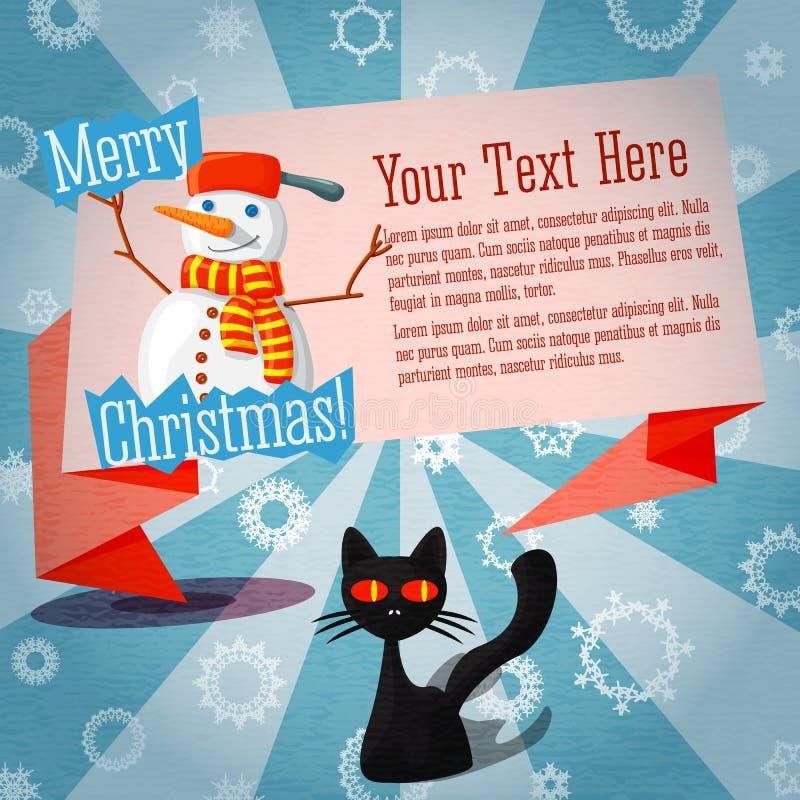 Χαριτωμένο αναδρομικό έμβλημα Χαρούμενα Χριστούγεννας στην τέχνη διανυσματική απεικόνιση