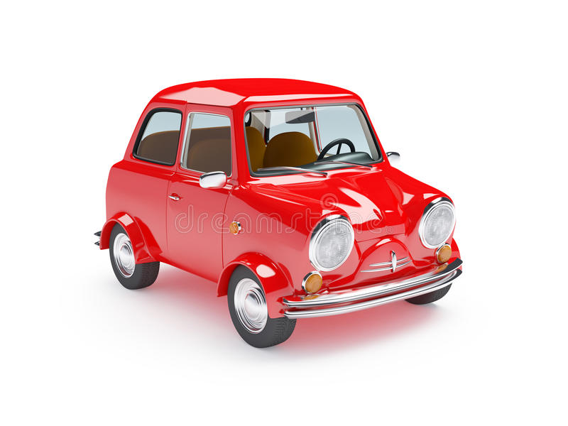 Χαριτωμένο αναδρομικό κόκκινο αυτοκινήτων ελεύθερη απεικόνιση δικαιώματος
