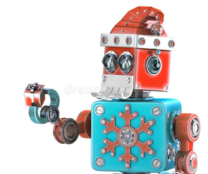 Χαριτωμένο αναδρομικό ρομπότ με το κιβώτιο δώρων εκμετάλλευσης καπέλων του santa απομονωμένος Περιέχει το μονοπάτι ψαλιδίσματος διανυσματική απεικόνιση