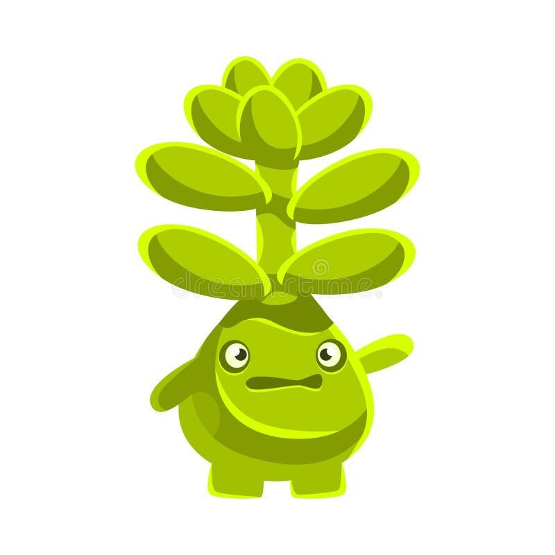 Χαριτωμένο ανησυχημένο succulent emoji Διανυσματική απεικόνιση χαρακτήρα συγκινήσεων κινούμενων σχεδίων απεικόνιση αποθεμάτων