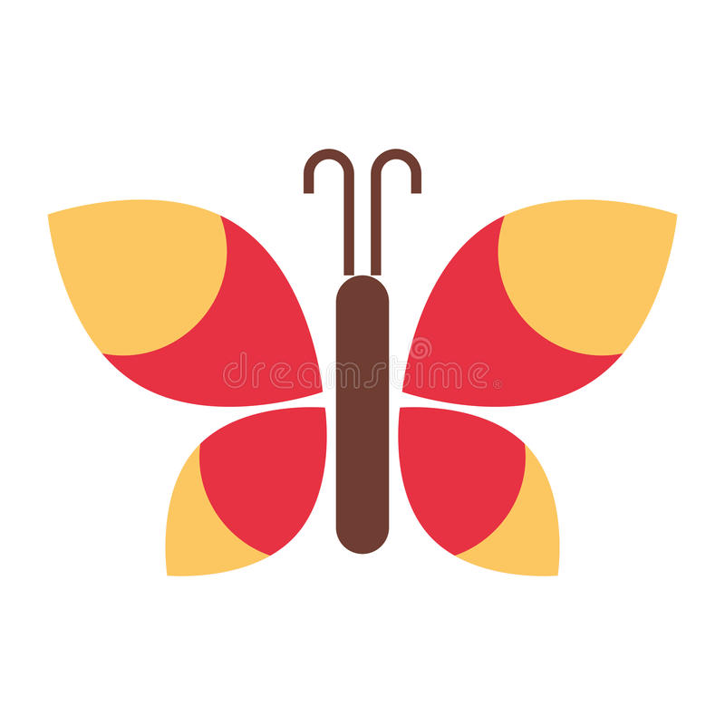 Χαριτωμένο απομονωμένο πεταλούδα εικονίδιο διανυσματική απεικόνιση