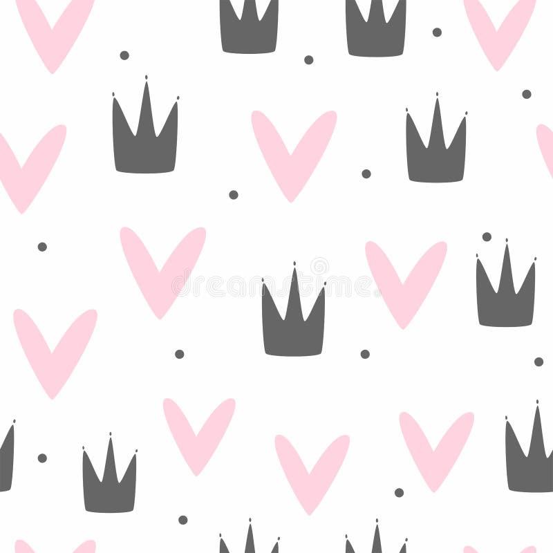 Χαριτωμένο αρμονικό μοτίβο για κορίτσια Επανάληψη εκτύπωσης με στεφάνες, καρδιές και κουκκίδες πόλκας διανυσματική απεικόνιση