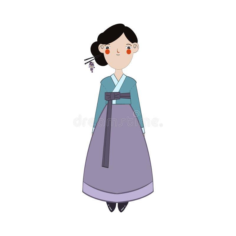 Χαριτωμένο ασιατικό κορίτσι στα ζωηρόχρωμα εθνικά ενδύματα της Ιαπωνίας απεικόνιση αποθεμάτων