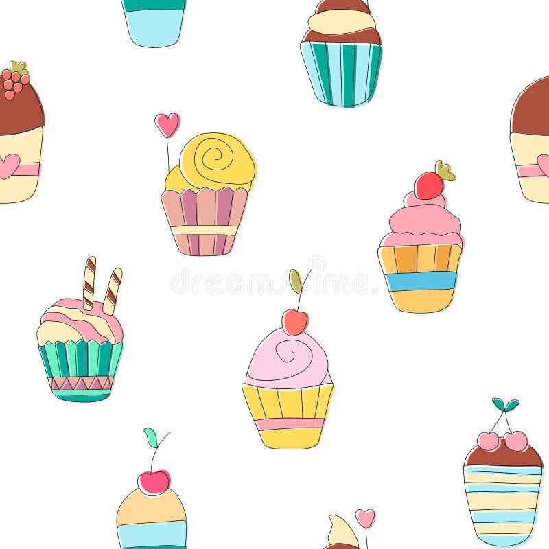 Χαριτωμένο αστείο άνευ ραφής σχέδιο με τα γλυκά cupcakes κινούμενων σχεδίων ελεύθερη απεικόνιση δικαιώματος