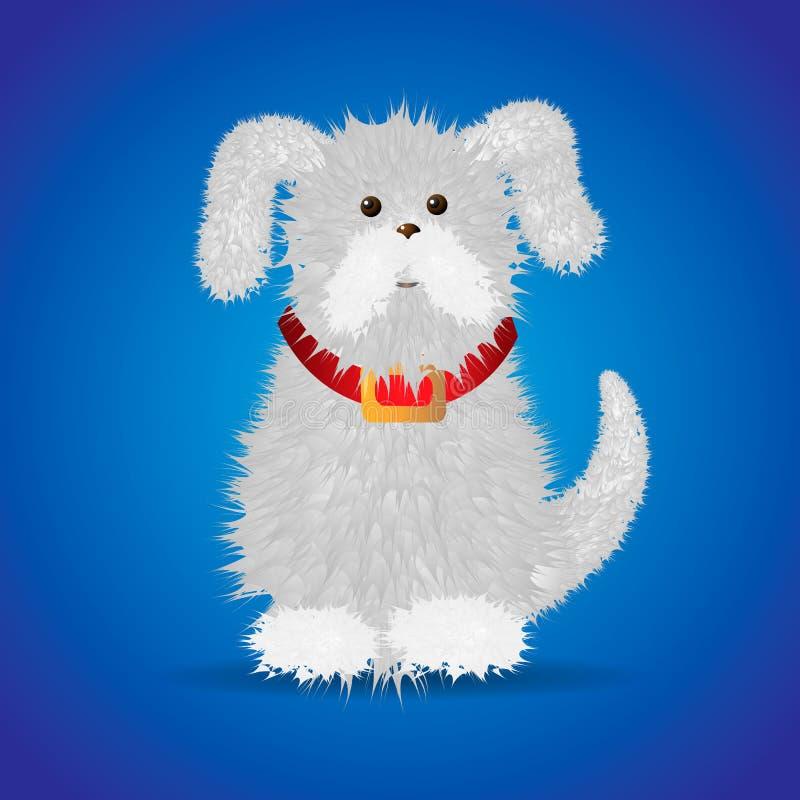 Χαριτωμένο αστείο άσπρο χνουδωτό σκυλί κινούμενων σχεδίων σε ένα κόκκινο περιλαίμιο διανυσματική απεικόνιση