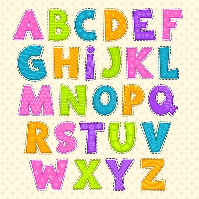 Χαριτωμένο αστείο παιδαριώδες αλφάβητο ελεύθερη απεικόνιση δικαιώματος