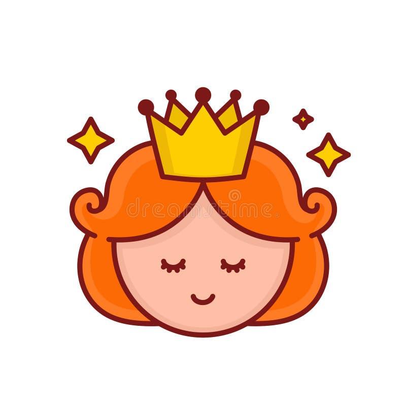 Χαριτωμένο αστείο πρόσωπο πριγκηπισσών κοριτσιών χαμόγελου διάνυσμα διανυσματική απεικόνιση