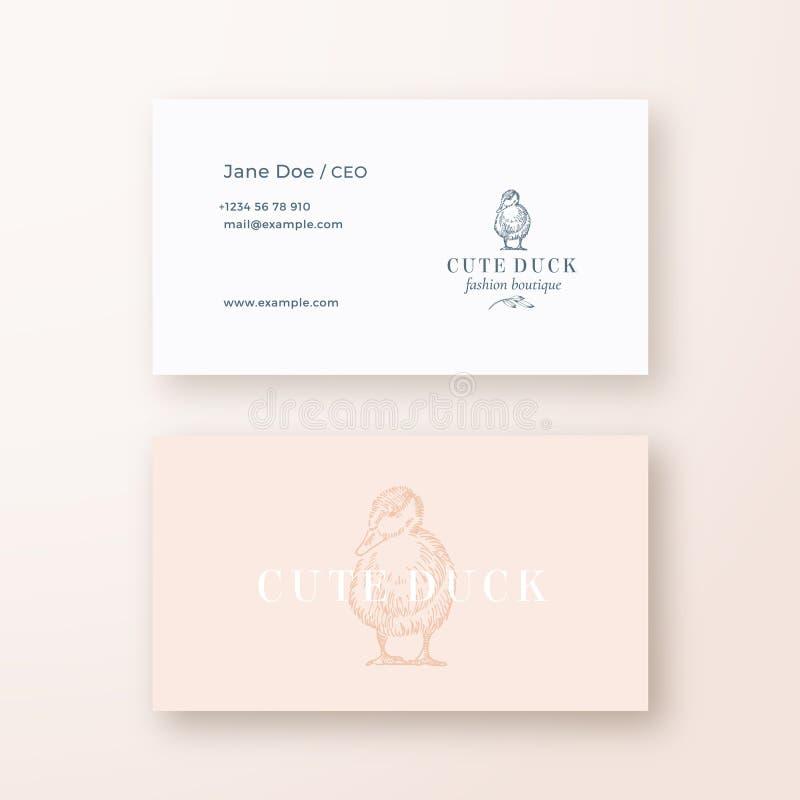 Χαριτωμένο αφηρημένο θηλυκό διανυσματικό σημάδι παπιών ή λογότυπο και πρότυπο επαγγελματικών καρτών Στάσιμη ρεαλιστική χλεύη ασφα ελεύθερη απεικόνιση δικαιώματος