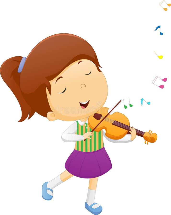 Χαριτωμένο βιολί παιχνιδιού μικρών κοριτσιών απεικόνιση αποθεμάτων