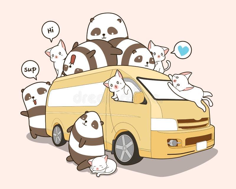 Χαριτωμένο γάτες και panda και φορτηγό απεικόνιση αποθεμάτων