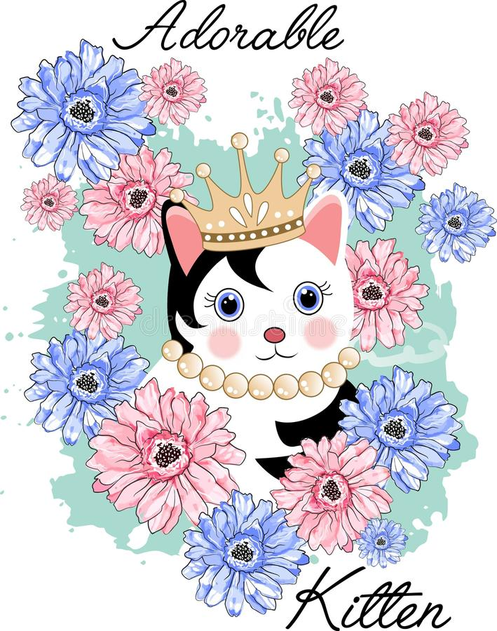 Χαριτωμένο γατάκι λατρευτό απεικόνιση αποθεμάτων