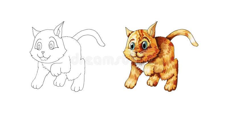 Χαριτωμένο γατάκι κινούμενων σχεδίων Συρμένο doodle χέρι ζώο πιπεροριζών Σκίτσο για το χρωματισμό της σελίδας διανυσματική απεικόνιση