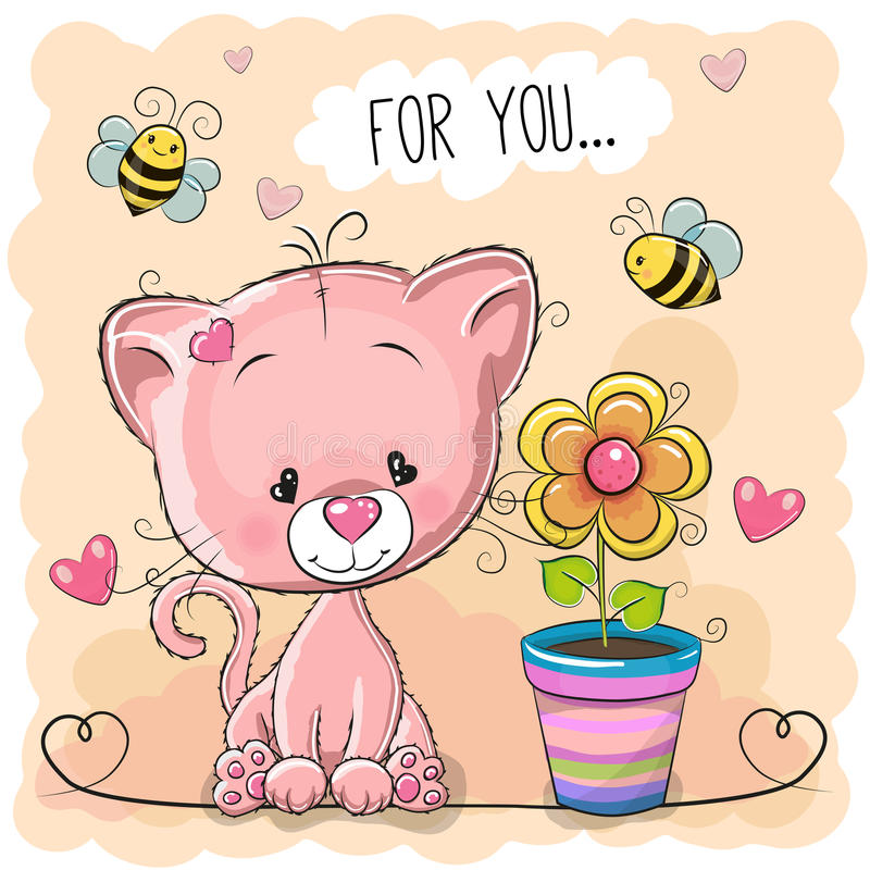 Χαριτωμένο γατάκι κινούμενων σχεδίων ευχετήριων καρτών με το λουλούδι διανυσματική απεικόνιση