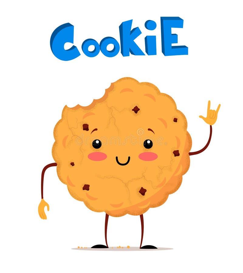 Χαριτωμένο δαγκωμένο μπισκότο που σχεδιάζεται οριζόντια ελεύθερη απεικόνιση δικαιώματος