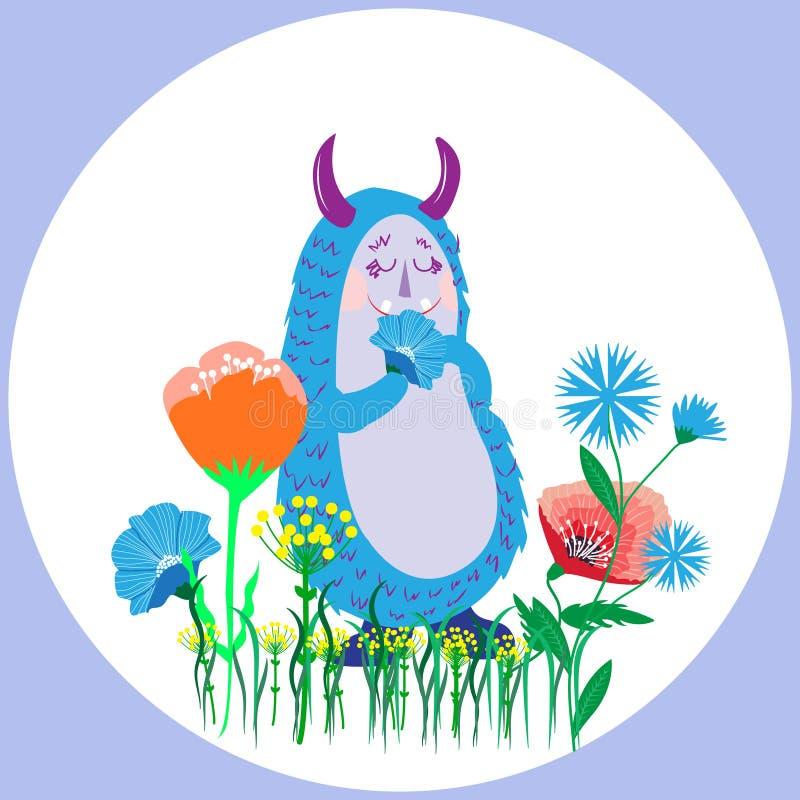 Χαριτωμένο δασύτριχο γούνινο αστείο τέρας με το λουλούδι στο πόδι, carto Doodle απεικόνιση αποθεμάτων