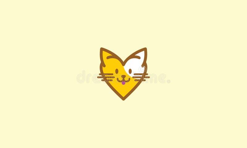 Χαριτωμένο διάνυσμα εικονιδίων λογότυπων γατών αγάπης απεικόνιση αποθεμάτων