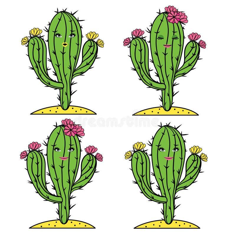 Χαριτωμένο διάνυσμα κάκτων που τίθεται με τα πρόσωπα και τα λουλούδια κοριτσιών Χαμογελώντας, έκπληκτος και ήρεμος κάκτος Adarabl ελεύθερη απεικόνιση δικαιώματος