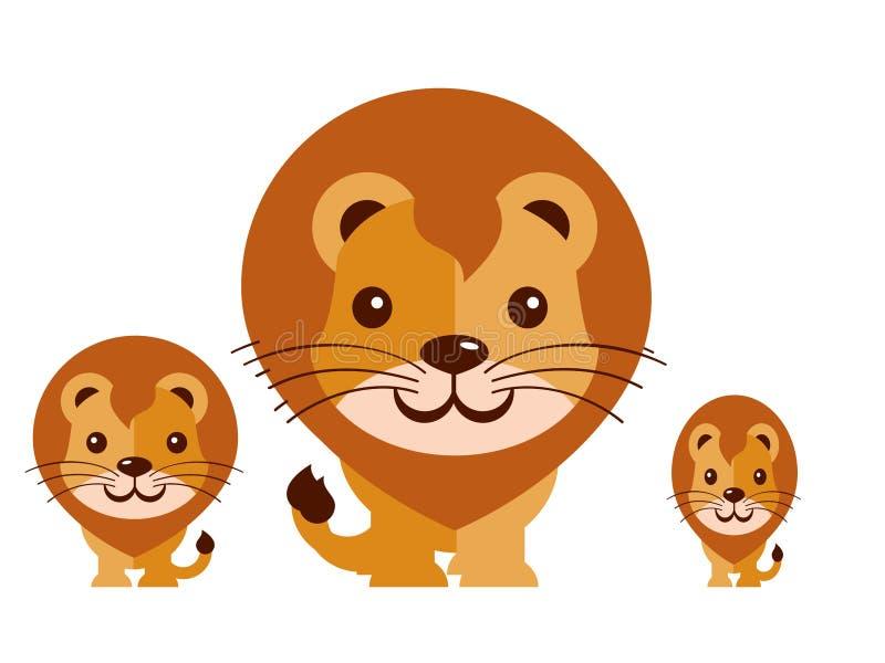 Χαριτωμένο διάνυσμα λιονταριών σε ένα άσπρο υπόβαθρο απεικόνιση αποθεμάτων