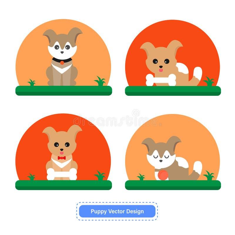 Χαριτωμένο διάνυσμα σκυλιών ή κουταβιών για τα πρότυπα εικονιδίων ή το υπόβαθρο παρουσίασης διανυσματική απεικόνιση