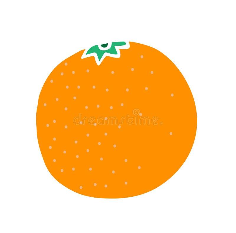 Χαριτωμένο διανυσματικό πορτοκάλι, για τα παιδιά που μαθαίνουν, για το σχέδιο, την απεικόνιση των βιβλίων, τροπικά φρούτα, tanger διανυσματική απεικόνιση