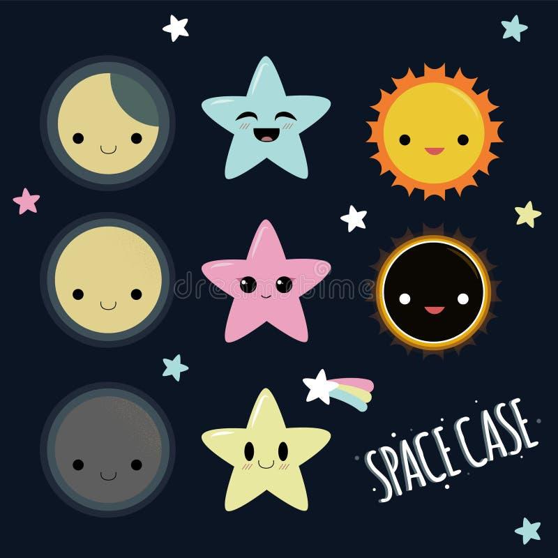 Χαριτωμένο διαστημικό διανυσματικό πακέτο Kawaii ελεύθερη απεικόνιση δικαιώματος