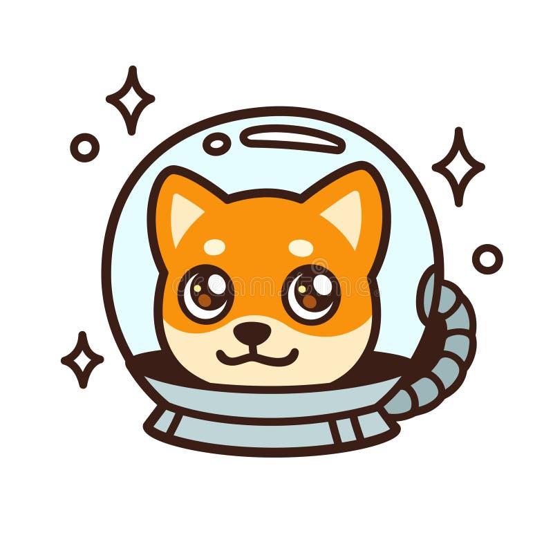 Χαριτωμένο διαστημικό σκυλί κινούμενων σχεδίων απεικόνιση αποθεμάτων