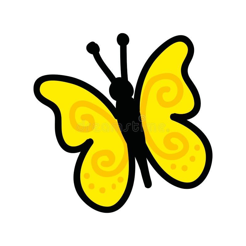 Χαριτωμένο εικονίδιο σχεδίων πεταλούδων διανυσματική απεικόνιση