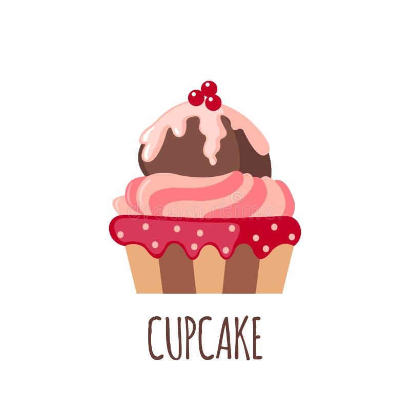 Χαριτωμένο εικονίδιο cupcake απεικόνιση αποθεμάτων