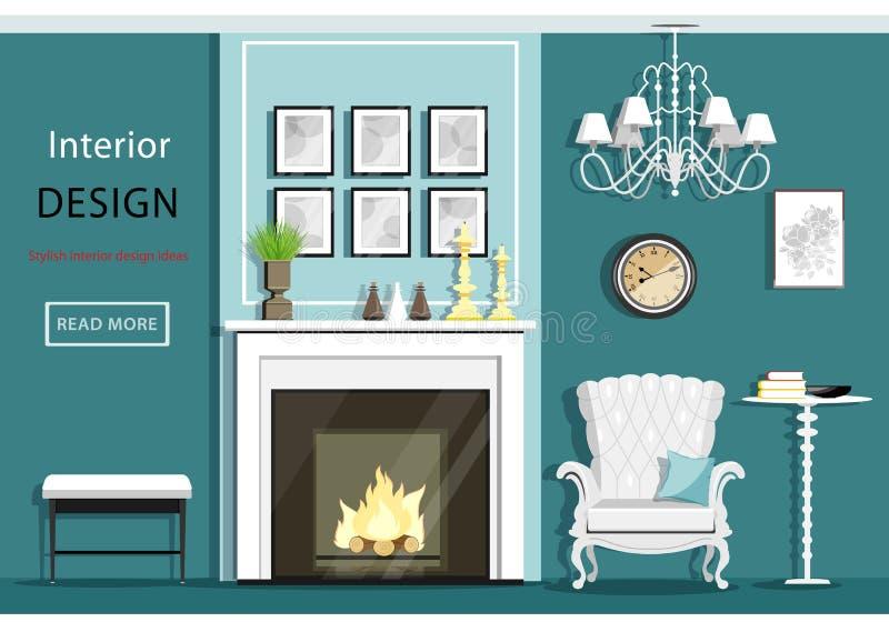 Χαριτωμένο εκλεκτής ποιότητας εσωτερικό καθιστικών με τα έπιπλα: άνετη πολυθρόνα, εστία, πολυέλαιος, πίνακας Επίπεδο ύφος ελεύθερη απεικόνιση δικαιώματος